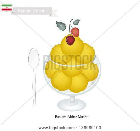 Iranian Cuisine Bastani Akbar Mashti or Traditional Persian Ice Cream Made From Milk Eggs Sugar Rose Water and Saffron. One of The Most Popular Dessert in Iran.