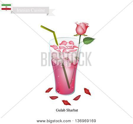 Iranian Cuisine Gulab Sharbat or Traditional Drink Made From Rose Petals and Aromatic Syrup. One of The Most Popular Drink in Iran.