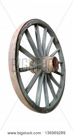 Clipped image of antique wagon wheel on white background.