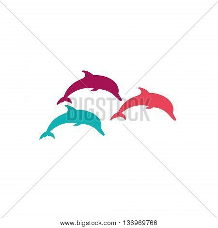 Three dolphins Vector silhouette on a white background.