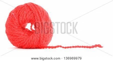 Clew of yarn tangled texture isolated on white background
