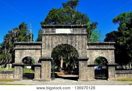 New Bern North Carolina - April 24 2016: Weeping Arch Gate at historic Cedar Grove Cemetery on Queen Street *