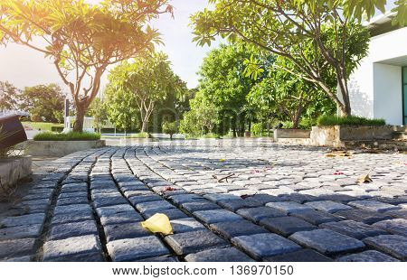 Footpath Or Sidewalk And Pedestal Surface, Rock Tile Pavement Ground