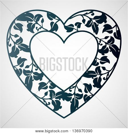 Openwork heart with leaves. Vector frame. Laser cutting template for greeting cards envelopes wedding invitations decorative elements.