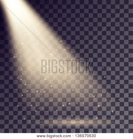 Golden rays from spotlight with shining particles on transparent background.