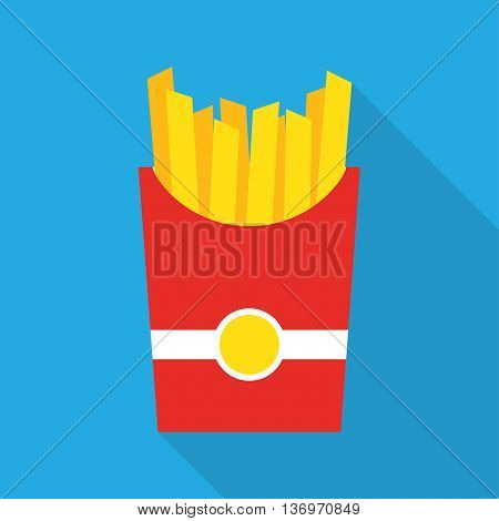French fries. Vector illustration, flat design. French fries in paper box, isolated flat design with long shadow. French fries fast food in a red package.