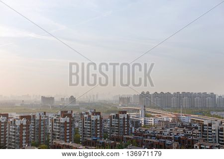 City in the fog. Environmental pollution. urban background. view of the city