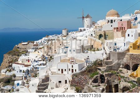 Greek Aegean Island, Santorini, In The Summer Day, Greece