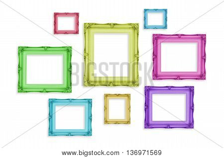 Vintage Colorful Photo Frames Isolated On White Background,template Mock Up For Adding Your Picture