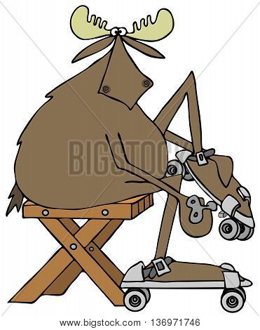 Illustration of a bull moose sitting on a bench and tightening up his old style roller-skates with a key.