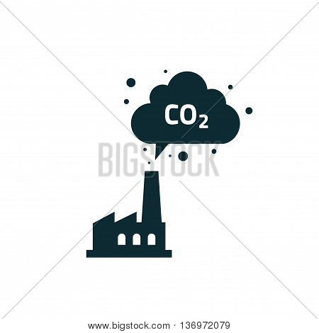 Factory silhouette with chimney polluting CO2 cloud smoke vector icon isolated on white, co2 dioxide emissions production from factory symbol, black plant shape