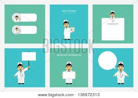 People Set. Therapist doctor. Profession. Male doctor in different poses. Important information from doctor.