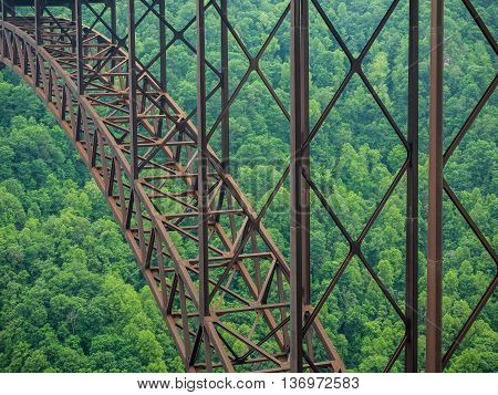 Closeup Detail of New River Gorge, steel-arched bridge in West Virginia