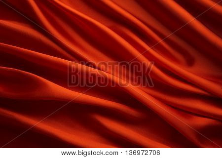 Silk Fabric Background Red Satin Cloth Waves Texture