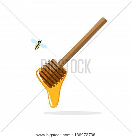 Honey dipper vector illustration, wooden stick with flowing honey drop, flying bee cartoon flat style, apiary production concept, icon isolated on white background