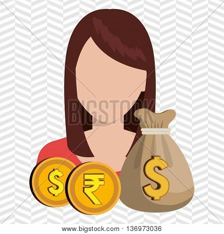 person with dollar and pound sterling isolated icon design, vector illustration  graphic