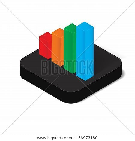 3D isometric bar chart icon for business concept vector illustration design