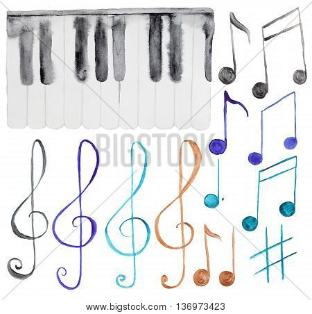 Hand-drawn Watercolor piano keyboard and note isolated on white background. Set of musical signs and piano