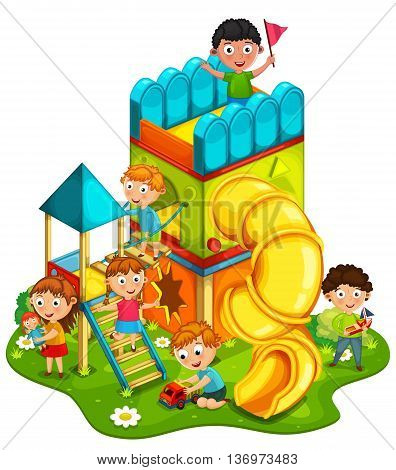Kids playing at the park vector illustration