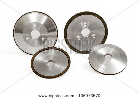 Grinding and Polishing Wheels on White Background