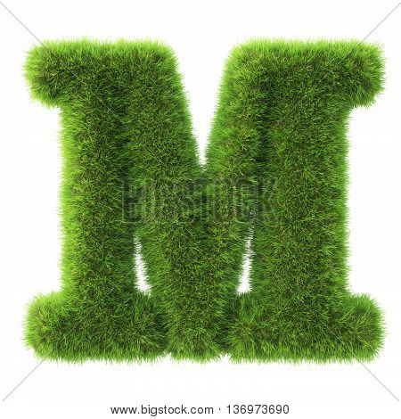 Alphabet made from green grass. isolated on white. 3D illustration.m