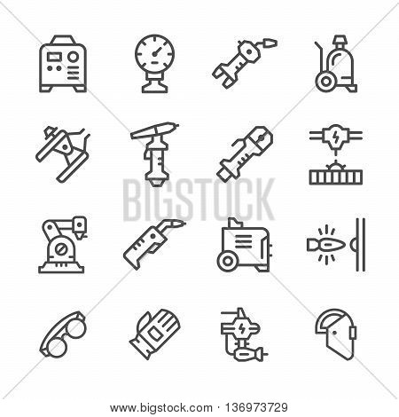 Set line icons of welding isolated on white. Vector illustration