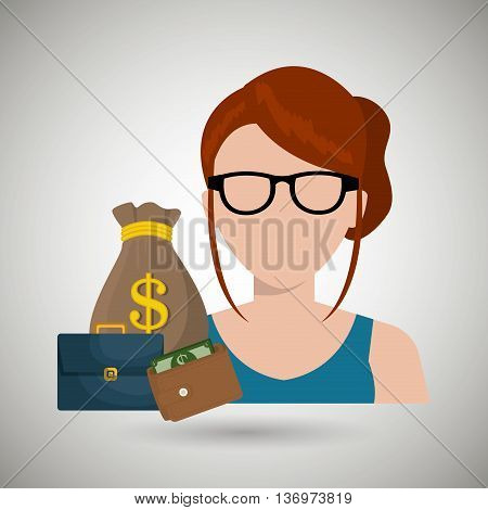business person with money and portfolio  isolated icon design, vector illustration  graphic