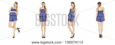 Portrait Of Woman On White Background Wearing Overall