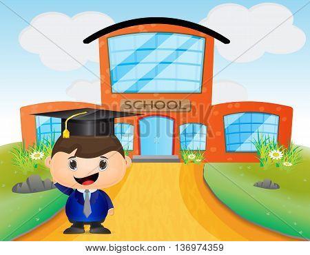 cute kid cartoon wearing graduation hat in front of school bulding