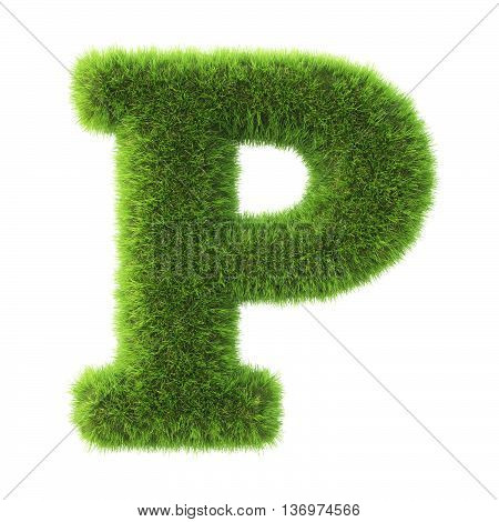 Alphabet made from green grass. isolated on white. 3D illustration.p