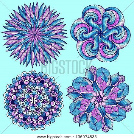Vector mandalas. Colored mandala set. Oriental round ornament. asian design element. Set of four blue vector mandalas.