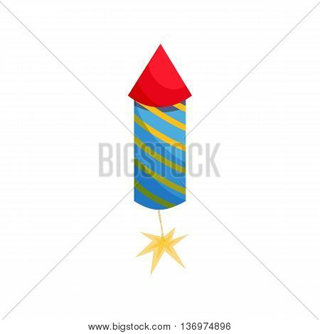 Party popper icon in cartoon style on a white background