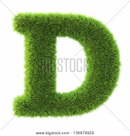 Alphabet made from green grass. isolated on white. 3D illustration.d