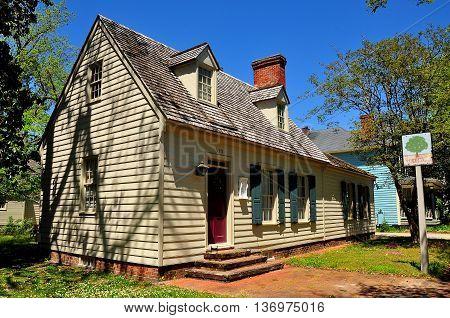 New Bern North Carolina - April 24 2016: Early colonial-era 1705 Major John Danes House on George Street