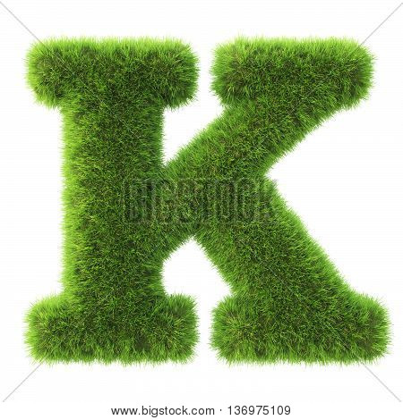 Alphabet made from green grass. isolated on white. 3D illustration.k