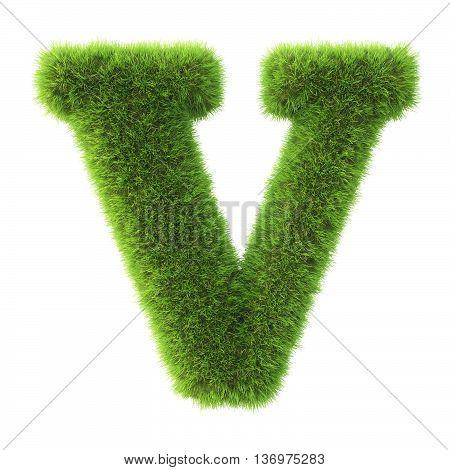Alphabet made from green grass. isolated on white. 3D illustration.v