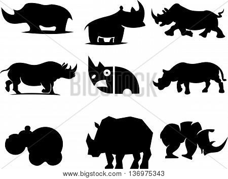logo illustration silhouette abstract animal rhinos icons