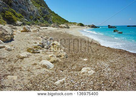 Blue waters of Katisma Beach, Lefkada, Ionian Islands, Greece