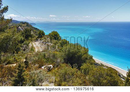 Blue Waters of Gialos Beach, Lefkada, Ionian Islands, Greece
