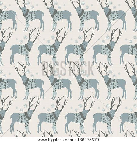 seamless pattern with deer sweater, gray reindeer sweater with geometrical pattern