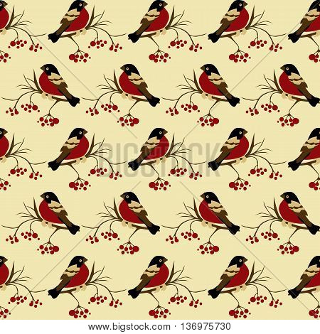 bullfinches on rowan seamless pattern Christmas background