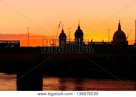 Silhouette Of St. Paul And London Bridge