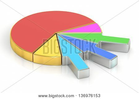 circle colored and metallic pie chart 3D rendering