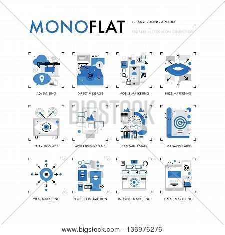 Advertising Media Monoflat Icons
