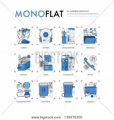 Business Essentials Monoflat Icons