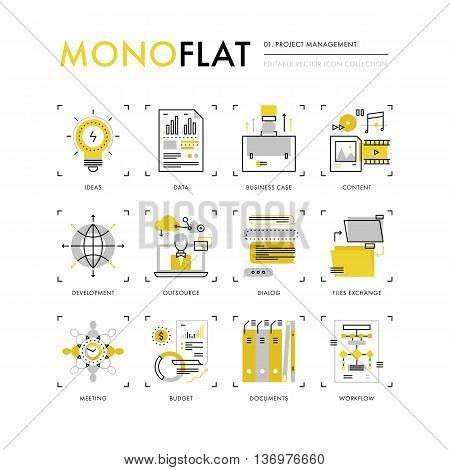 Project Management Monoflat Icons