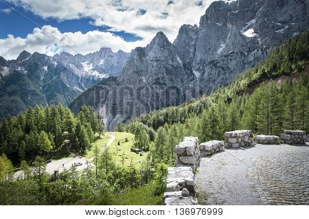 View from the road to Vršič pass in Julian Alps in Slovenia