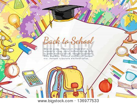 Education open book knowledge back to school template school tools vector illustration