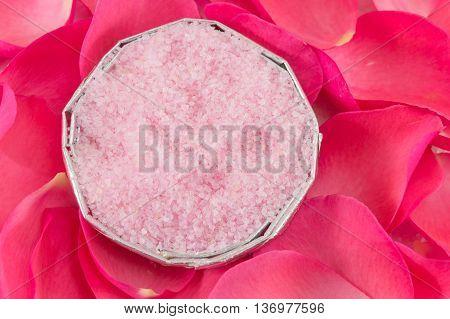 Pink Rose On Rose Petals And Bath Salt