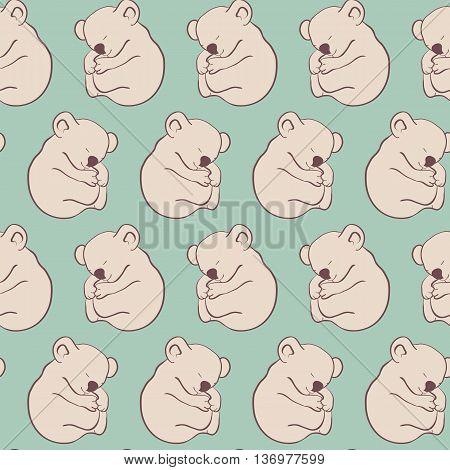 cartoon koala on a green background, children seamless pattern